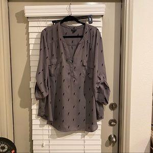 Torrid Harper Georgette blouse grey lightning